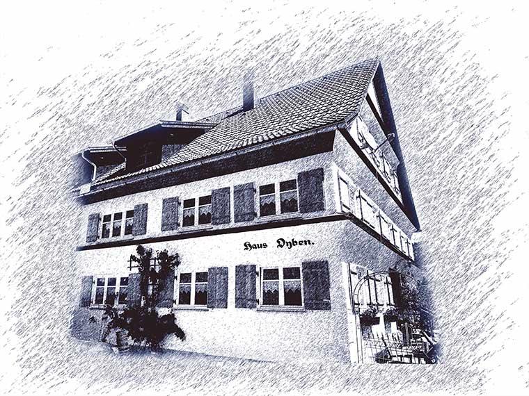 Illustration Haus Oyben im Allgäu